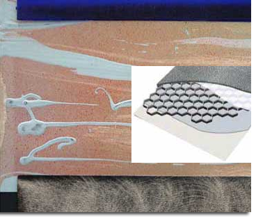 Detail of aluminum panel painting showing sanding, etching, and poured paint. Inset Photo: A breakaway diagram of an aluminum honeycomb panel.
